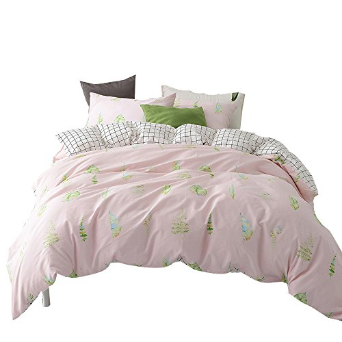 ORUSA Grid Leaves Pattern Cotton Reversible Summer Bedding Set with Pillow Sham Child Duvet Cover Set for Girls Teens Pink White Queen/Full,Style c -