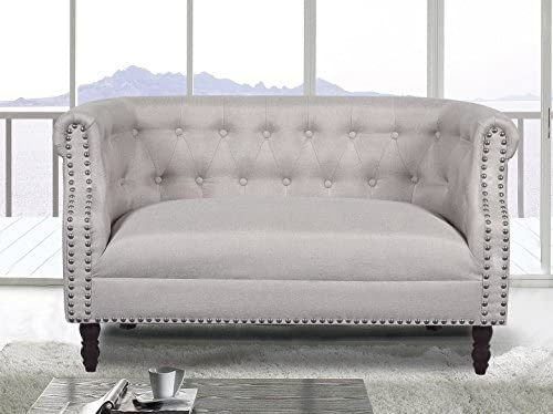 Awesome Us Pride Furniture S5258 Modern Fabric Upholstered Living Room Luxurious Loveseat With Tufted And Nail Head Trim Wood Leg Finish Beige Pdpeps Interior Chair Design Pdpepsorg