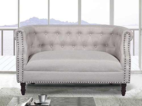 (US Pride Furniture S5258 Modern Fabric Upholstered Living Room Luxurious Loveseat with Tufted and Nail Head Trim, Wood Leg Finish, Beige)
