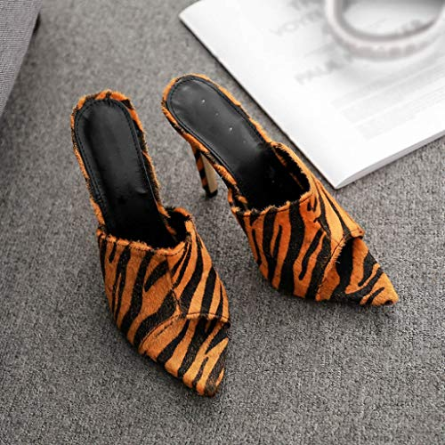 Trydoit Leopard Zebra Pointu Sandales Hauts Femmes Talons Marron À 66HrTqw