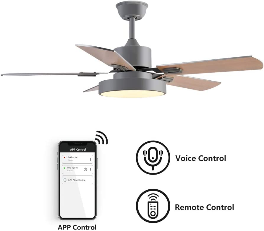 Amazon Com Simple Deluxe Ceiling Fans 44 Wifi Smart Ceiling Fan Led Frosted Light And Remote Control Work With Alexa And Google Assistant Small Room Bedroom Matte Silver Home Kitchen,Farmhouse Joanna Gaines Shiplap Living Room