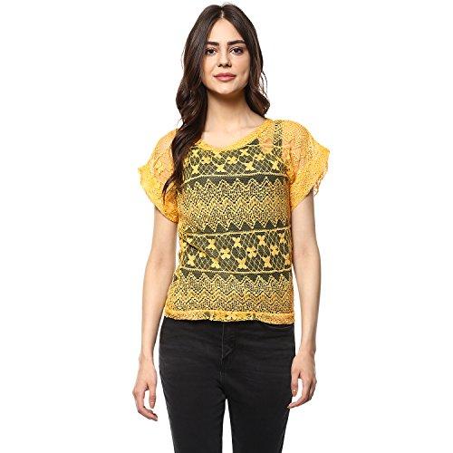 mayra Women's Net Yellow Color Short Sleeve Top