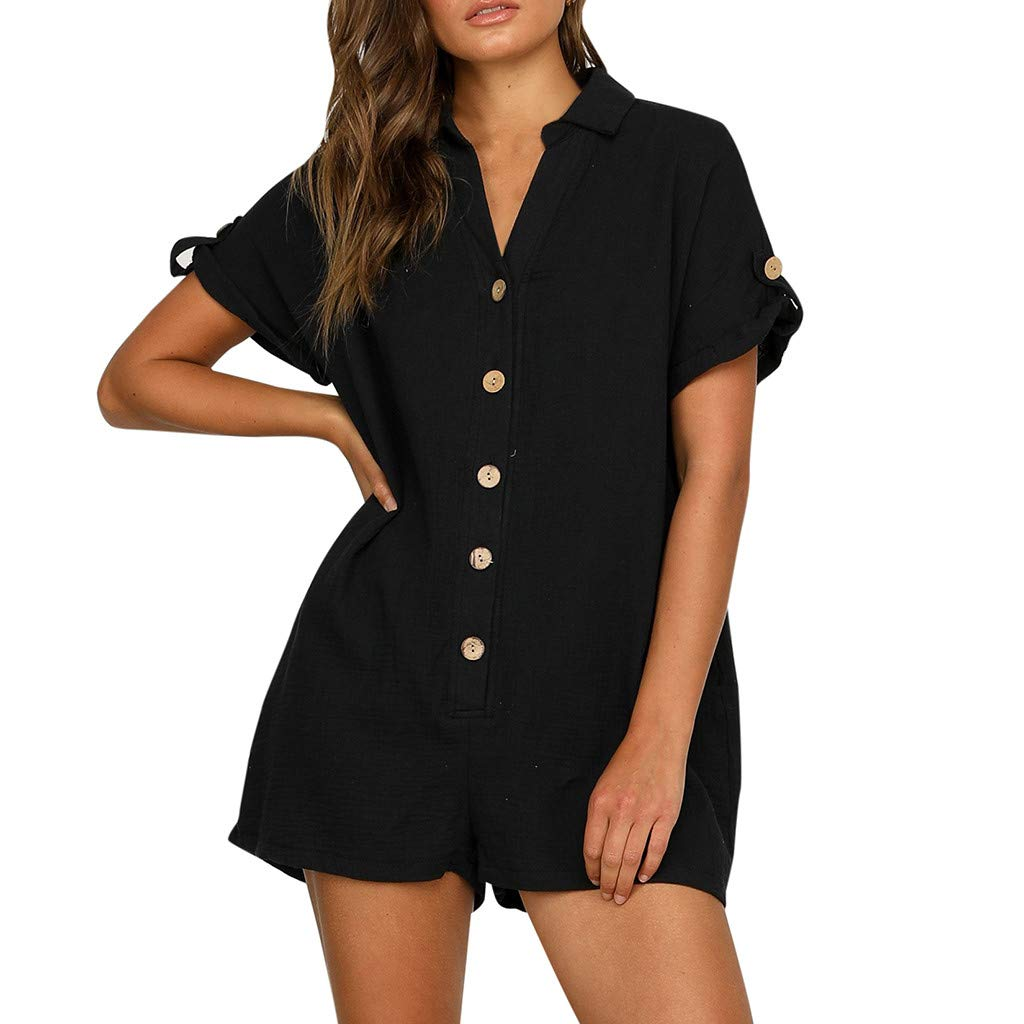 Fanteecy 2019 Women's Casual Mini Jumpsuits Summer Sexy V Neck Button-Up Short Sleeve High Waist Shorts Rompers Playsuit (Black, S)