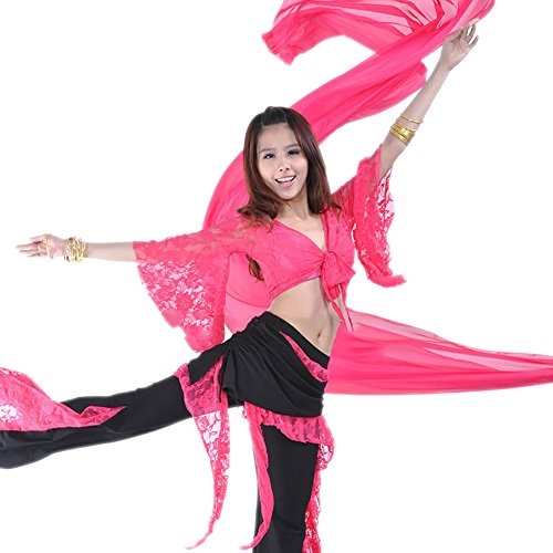 Indian Bollywood Costume Ideas (AvaCostume Belly Dance Butterfly Sleeve Lace Top and Bell Bottom Pants, Rose red, Set of 2)