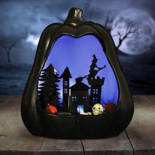 Exhart Black Jack O Lantern Pumkin, Halloween Statue, Spooky Skyline Inset, Purple LED Lights, Battery Powered