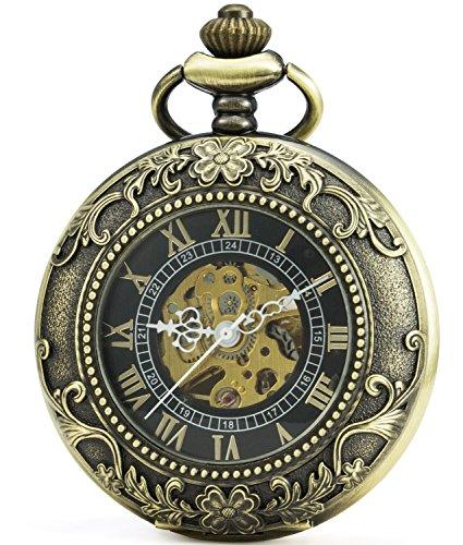 SEWOR Vintage Magnifier Skeleton Pocket Watch Mechanical hand wind (Bronze)