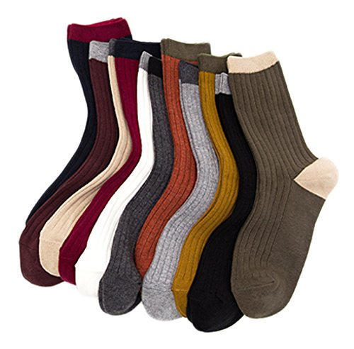 Lian LifeStyle Women's 6 Pairs Combed Cotton Socks HR1751 Casual Size 6-9 (6P6C1)