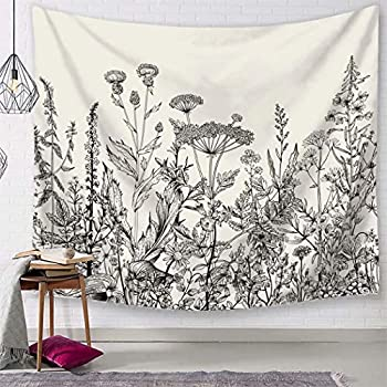 TSDA Black and White Flower Tapestry Wildflower Plant Wall Hanging Floral Botanical Nature Tapestry Decor for Bedroom Dorm (Large-79 x 59 in)