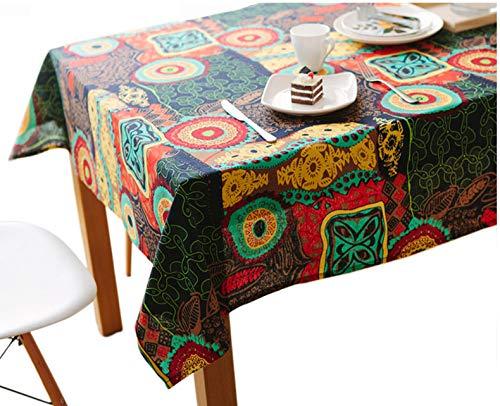 Bringsine Washable Square Cotton Linen Colorful Flower Print Tablecloth, Vintage Dinner Picnic Table Cloth Home Decoration Assorted Size by Bringsine