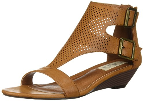 (Sugar Womens' Wigout Demi Wedge T-Bar Open Toe Buckle Sandal, Cognac Perf, 8 Medium US)
