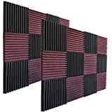 24 Pack - Burgundy/Charcoal Acoustic Panels Studio Foam Wedges 1'' X 12'' X 12''