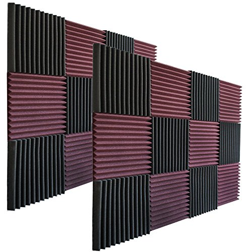 "24 Pack - Burgundy/Charcoal Acoustic Panels Studio Foam Wedges 1"" X 12"" X 12"""