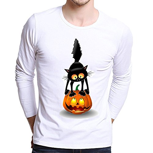 Clearance Sale!Toimoth Men Plus Size Long Sleeve Printing Tees Shirt T Shirt Blouse (White,XL)