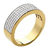 So Chic Jewels - Ladies 18k Gold Plated White Cubic Zirconia Pebbled Half Eternity Wedding Band Ring - Size 6
