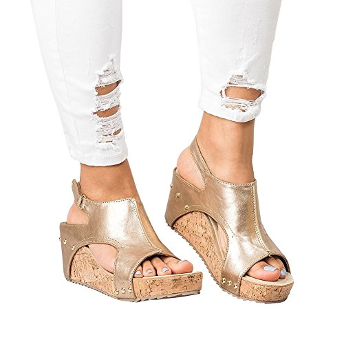 Royou Yiuoer Sandals For Women Mid Heel Casual Peep Toe Platform Wedges Sandals Summer Shoes By Gold Us 7