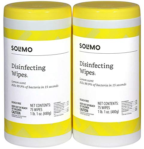 Amazon Brand – Solimo Disinfecting Wipes, Lemon Scent, 75 Wipes Each (Pack of 2)