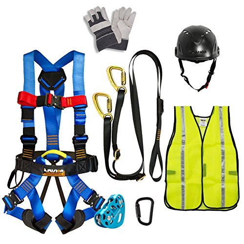 Fusion Climb Pro Backyard Zip Line Kit Harness Lanyard Trolley Carabiner Helmet Vest Glove Bundle FK-A-HLTCHVG-05