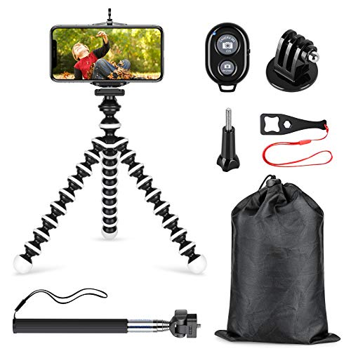 SmilePowo Phone Tripod and Selfie Stick Kit with Shutter Remote Control and Universal Adapter for iPhone, Android Phone,GoPro Hero Camera and Other Sports Action Camera(with Medium Tripod)