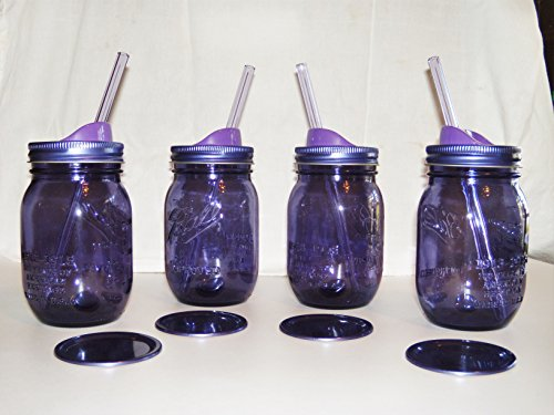 4 Purple Mason Jar Drink Cups with Matching Glass Straws and New Ball Bpa and Rust Free Sip Lids