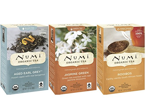 Numi Organic Tea Variety for Morning, Afternoon and Evening (Pack of 3)