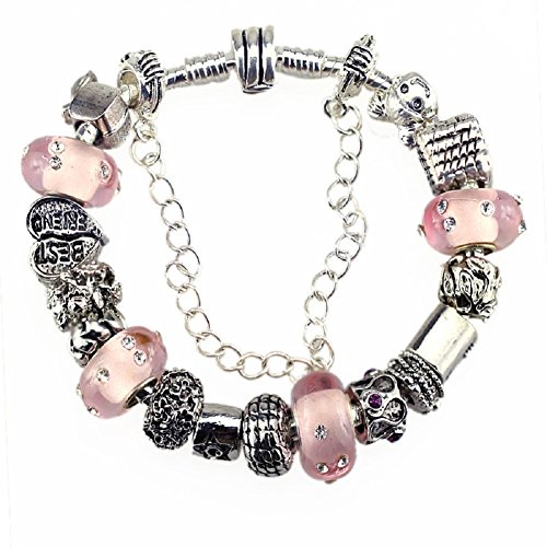 Charm Bracelets and Charm for Pandora for Women Silver Plated Pink Star Best Friend - Glasses Star Tiffany