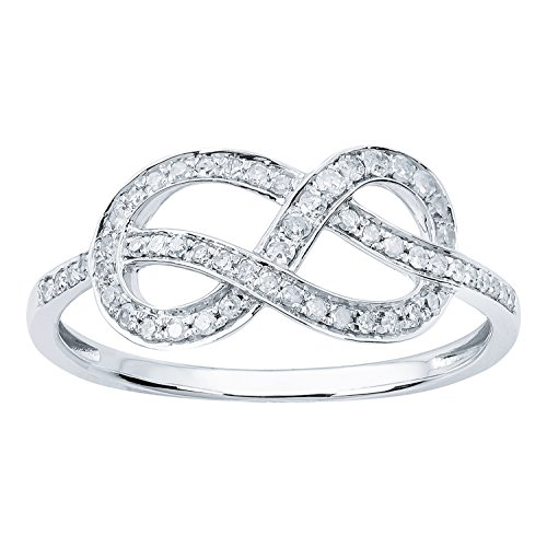 10k White Gold Knot Style Diamond Ring (1/4 cttw, I-J Color, I2-I3 Clarity) (Diamond Knot Ring)