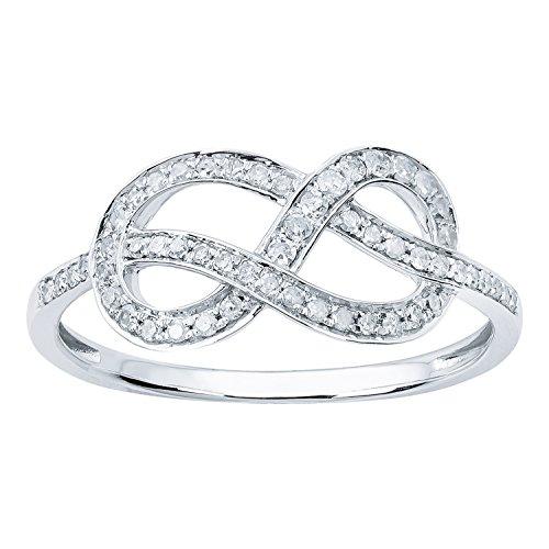 10k White Gold Knot Style Diamond Ring (1/4 cttw, I-J Color, I2-I3 Clarity) (Diamond Knot Ring)