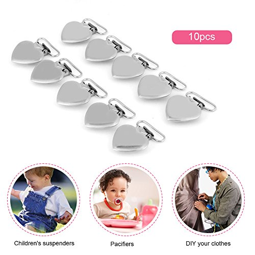 10 Pcs Pacifier Holder Suspender Clips, Metal Heart Shape Clip for Making Pacifier Holders Bib Toy Holder Clips Silver by Semme (Image #2)