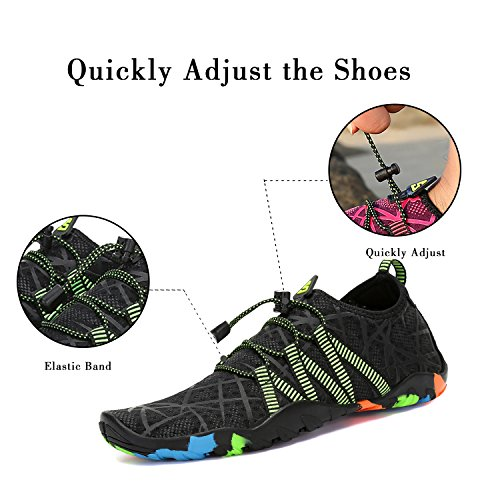 Barefoot Water Shoes Aqua Ladies Mens Quick Dry for Swimming Pool Beach Walk Holiday Black-1 YczhTd9