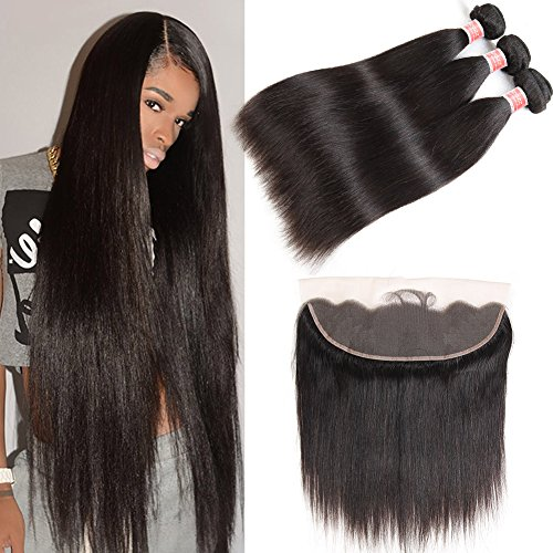 Pizazz 8A Brazilian Straight Hair Lace Frontal Closure with Bundles Natural Black Straight Human Hair Weave 3 Bundles with Closure (18 20 22+16) by Pizazz