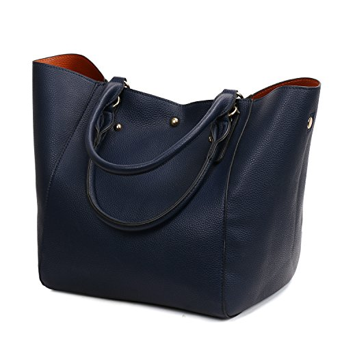 Bags Hand for Top Dark of Ladies Handbags Purse Shoulder Set a Women Girls Bucket Ladies Satchel Large Leather Blue Work Bag Tote Two vPqgzz