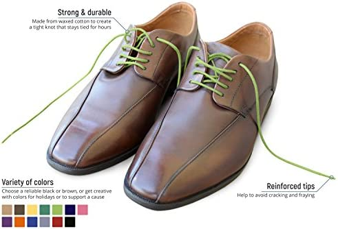 8 Pairs of Round Waxed Dress Shoe Laces Classic, Pastel, and Neon Boxsets in 30 inches or 34 inches