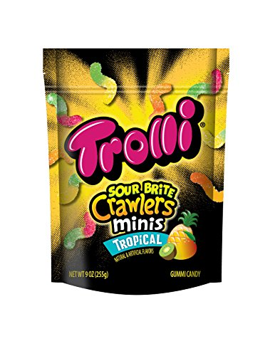 Trolli Sour Brite Crawlers Minis, Tropical, 9 Ounce, Pack of (Tropical Sours)