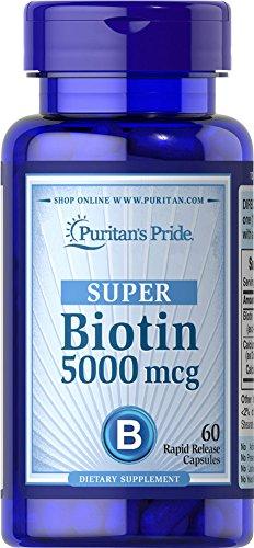 Puritan's Pride Vitamin Capsules, Super Biotin, 5000 mcg, 60