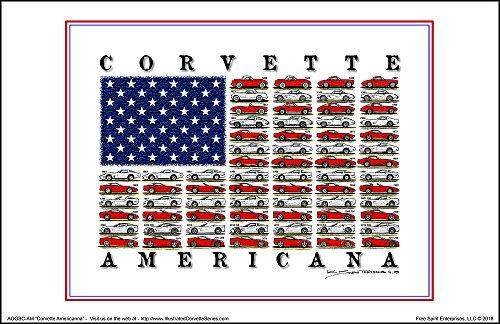 (Corvette Americana American Flag Art Print)