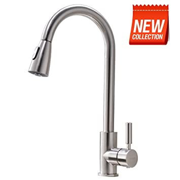 VAPSINT Modern Stainless Steel Single Handle Single Hole Brushed Nickel Pull  Out Spray Kitchen Faucet,