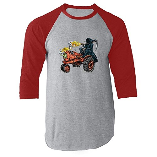 Grim Reaper Hot Pepper Tractor Red M Raglan Baseball (Habanero Scoville Units)