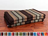 Leewadee Thai Massage Mat XL, 82x46x3 inches, Kapok Fabric, Brown, Premium Double Stitched