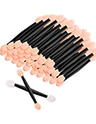 Amariver 200 Pack Disposable Eyeshadow Brush Sponge Tipped Oval Makeup Tool Dual Sides Eyeshadow Brush Comestic Applicator for Girls Lady Women Daily Beauty(Black)
