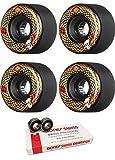 Powell-Peralta 66mm Snakes Longboard Skateboard Wheels with Bones Bearings - 8mm Bones Swiss Skateboard Bearings - Bundle of 2 items