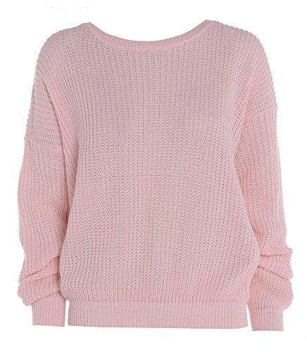 Ladies Womens gran tamaño Baggy Plain–Ovillo de jersey de punto grueso de punto largo Top Jumper UK 8–�?4 rosa pastel
