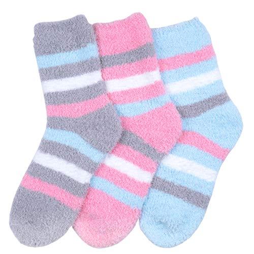 KONY Women's 3 Pairs Cozy Warm Microfiber Fuzzy Socks Anti-Skid Home Slipper Socks Gift Idea, Size 6-9 (Mix-3(Stripe))
