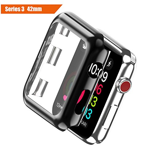 ICE FROG iWatch Series 3 42mm Case, Electroplate Metal Plated PC Slim Hard Protective Bumper HD Screen Protector Full Coverage Case Cover Shell for Apple Watch Series 3 42mm - Black Frog Shell