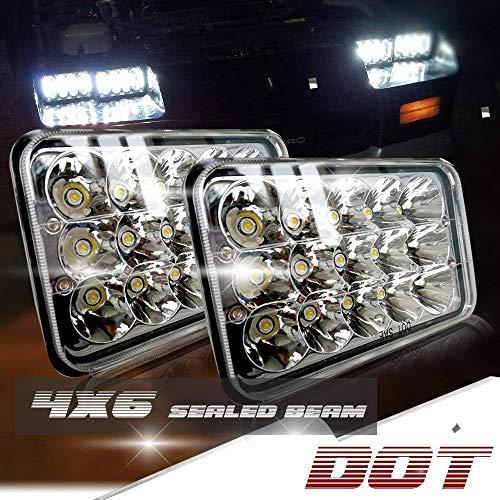 DOT Rectagular 4X6 Projector Sealed Beam Headlight Assemblies Replace Hid Xenon Halogen Bulb Headlamp KW Kenworth T600 W900 T800 Truck Peterbilt 379 Chevy Silverado S10 Blazer RV Freightliner Semi
