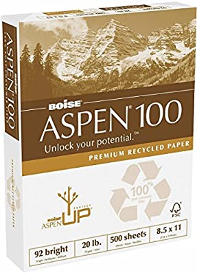 "Aspen 100% Recycled Copy Fax Laser Inkjet Printer Paper, 8 1/2"" x 11"" Letter Size, 92 Bright White, 20 lb., Ream, 500 Total Sheets (054922)"