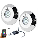 Jiawill 2 X 60W RGB CREE LED Underwater boat light,Surface Mount,Musical Control,Overheat Protection (2 lights with controller)