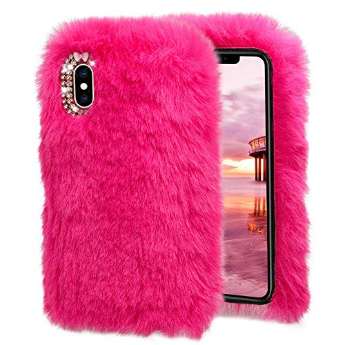 (Plush Case for iPhone Xs,Miya Rabbit Fur Case New iPhone X Bunny Furry Fluffy Fuzzy Phone Case for Girls Women Cute Winter Warm Soft Back Cover with Luxury Diamond Bowknot for iPhone X/XS -Rose Pink)