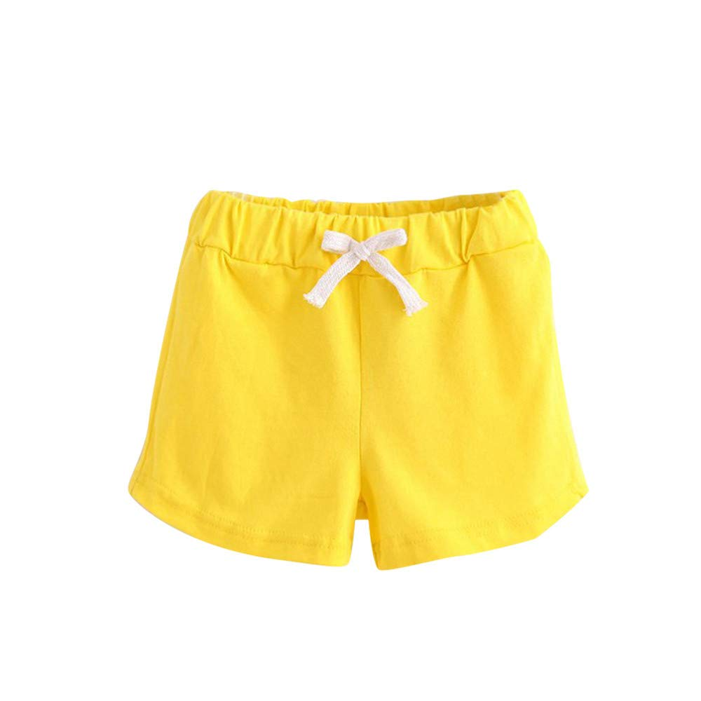 ❤️ Mealeaf ❤️ Summer Children Cotton Shorts Boys and Girl Clothes Baby Fashion Pants YE/130(Yellow,130)