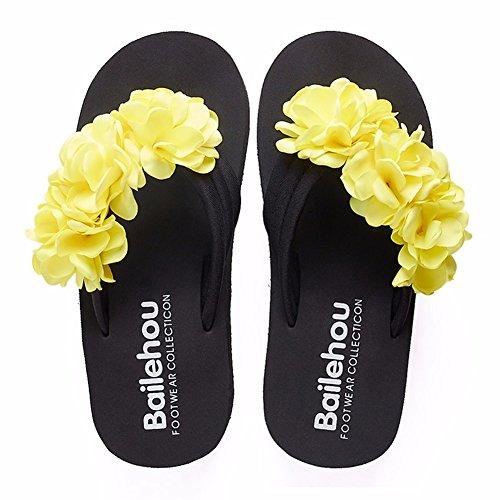 Fleur Chaussons Talon Sandales D'Antidérapage Yellow en Ladies' YUCH Haut Été 57w05qI