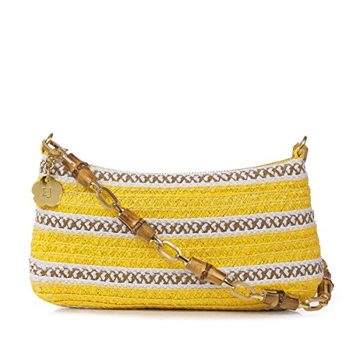 Eric Javits Luxury Fashion Designer Women's Handbag - Bulu Clutch - Yellow Mix by Eric Javits